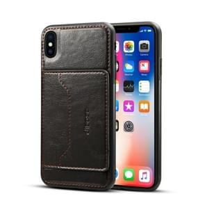 Dibase TPU + PC + PU Crazy Horse Texture Protective Case for  iPhone XS Max , with Holder & Card Slots(Black)