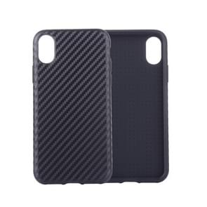 Carbon Fiber Texture PU Case for  iPhone XS Max  (Black)