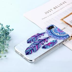 Blue Feather Wind Chimes Pattern Diamond Texture Oil Embossed TPU Case for iPhone XS Max