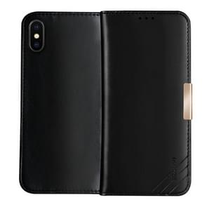 DZGOGO ROYALE II Series Magnetic Horizontal Flip Genuine Leather Case for iPhone XS Max with Card Slots & Holder (Black)