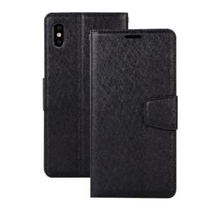 Silk Texture Horizontal Flip Leather Case for iPhone XS Max, with Holder & Card slots & Wallet & Photo Frame(Black)