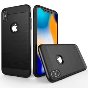 Brushed Texture Shockproof Rugged Armor Protective Case for  iPhone XS Max(Black)