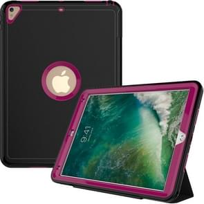 For iPad Pro 10.5 inch (2017) 3-layer Magnetic Protective Case with Smart Cover Auto-sleep & Awake Function(Magenta)