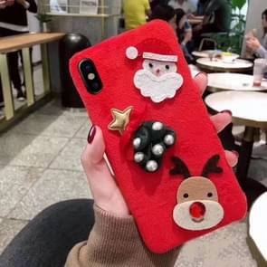 Christmas Series Santa Claus and Elk Pattern Flannel Protective Case for iPhone X (Red)