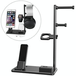 6 in 1 Aluminum Alloy Charging Dock Stand Holder Station for Headphones, AirPods, iPad, Apple Watch, iPhone(Black)