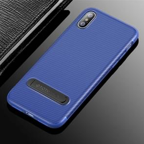 TOTUDESIGN Slim Series Carbon Fiber Texture TPU Protective Case for iPhone XS Max, with Holder(Blue)