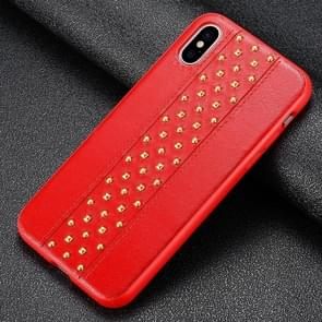 SULADA Rivet Style TPU + Leather Protective Case for iPhone XS Max (Red)