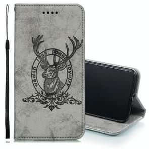 Deer Head Pattern Horizontal Flip Leather Case for iPhone XS Max, with Holder & Card Slots & Wallet & Lanyard (Grey)