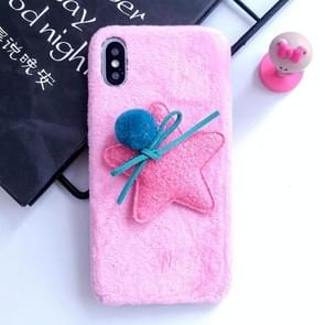 3D Fur Ball & Star Plush Case for iPhone XS Max (Pink)