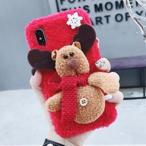 3D Elk Plush Case for iPhone XS Max (Red)