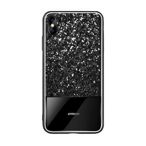 JOYROOM Glittery Powder Shockproof Tempered Glass Protective Case for iPhone XS Max (Black)