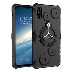 Gears Pattern Case for iPhone XS Max, with Holder & Armlet(Black)