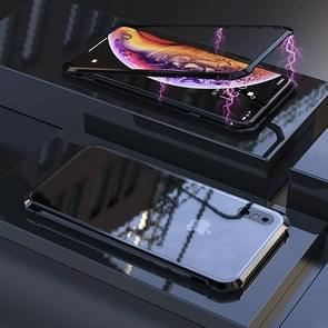 Ultra Slim Magnetic Adsorption Angular Frame Tempered Glass Magnet Flip Case for  iPhone XS Max (Black)