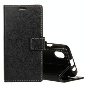 Litchi Texture Horizontal Flip Leather Case for iPhone XS Max, with Holder & Card Slots & Wallet (Black)