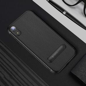 TOTUDESIGN Slim Series Carbon Fiber Texture TPU Protective Case for iPhone XR, with Holder(Black)