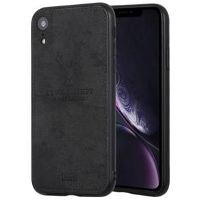 Deer Pattern Pressed Texture PU + TPU Protective Case for iPhone XR(Black)