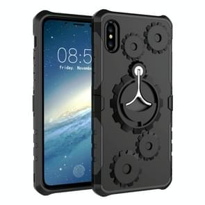 Gears Pattern Case for iPhone XR, with Holder & Armlet(Black)