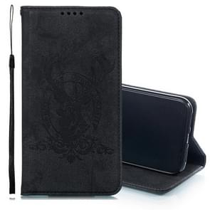 Deer Head Pattern Horizontal Flip Leather Case for iPhone XR, with Holder & Card Slots & Wallet & Lanyard (Black)