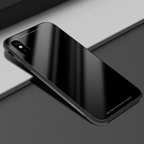 SULADA Metal Frame Toughened Glass Case for iPhone XR (Black)