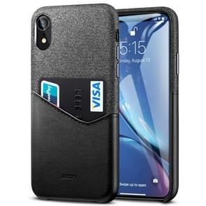 ESR Metro Series Soft Fabric + PU Leather Case for iPhone XR, with Card Slot(Black)