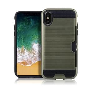Brushed Texture Shockproof TPU + PC Case for iPhone XR , with Card Slots (Army Green)