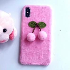3D Fur Ball Cherry Plush Case for iPhone XR (Pink)