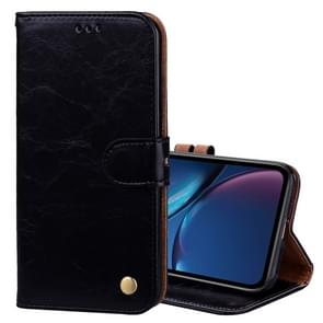 Business Style Oil Wax Texture Horizontal Flip Leather Case for iPhone XR, with Holder & Card Slots & Wallet (Black)