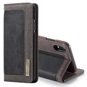 CaseMe Business Style Horizontal Flip PC + Denim Canvas Leather Case for iPhone XR, with Holder & Card Slots (Black)