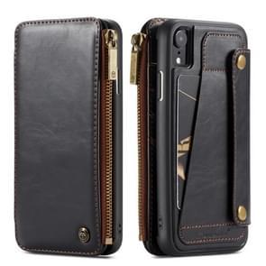 CaseMe-011 Detachable Multifunctional Horizontal Flip Leather Case for iPhone XR, with Card Slot & Holder & Zipper Wallet & Photo Frame (Black)