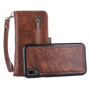 2 in 1 Zipper Pattern PU+ TPU Leather Case with Card Slot & Wallet & Photo Frame For  iPhone XR  6.1 inch(Coffee)