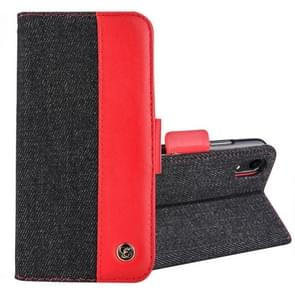 2 in 1 Denim Pattern Genuine Leather Case with Card Slot & Wallet & Holder For  iPhone XR  6.1 inch(Black+Red)