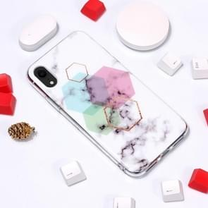 Marble Pattern TPU Soft Protective Case For  iPhone XR (Hexagon)