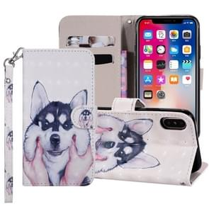 Husky Pattern Colored Drawing Horizontal Flip Leather Case for iPhone XR, with Holder & Card Slots & Wallet & Lanyard