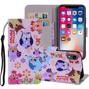 Pattern Colored Drawing Horizontal Flip Leather Case for iPhone XR, with Holder & Card Slots & Wallet & Lanyard