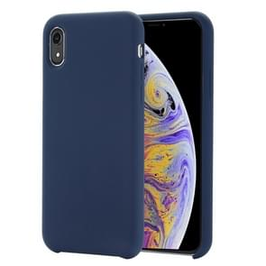 Four Corners Full Coverage Liquid Silicone Protective Case Back Cover for  iPhone XR  6.1 inch(Blue)