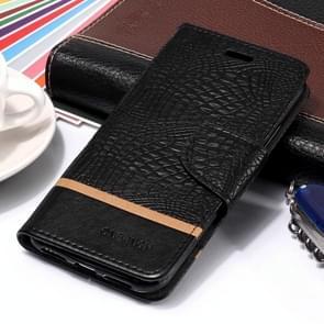 Crocodile Texture Horizontal Flip Leather Case for  iPhone XR (Black)
