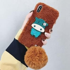 Cow Pattern Plush Case for iPhone XS / X, with Fur Ball Pendant(Coffee)