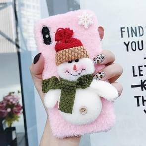 3D Snowman Plush Case for iPhone XS / X (Pink)