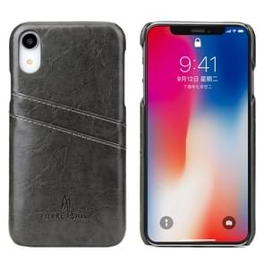 Fierre Shann Retro Oil Wax Texture PU Leather Case for iPhone XR, with Card Slots(Black)