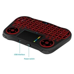 MT08 2.4GHz Mini Wireless Air Mouse QWERTY Keyboard with Colorful Backlight & Touchpad & Multimedia Control for PC, TV(Black)