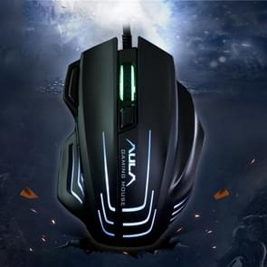 Aula Series Ghost Shark II Colourful Light 7D Optical Competitive USB Wired Game Mouse, Maximum Resolution of 4000 DPI(Black)