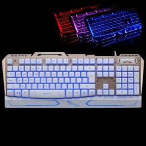 ZGB G500 104 Keys USB Wired Mechanical Feel 3-color Backlight Metal Brushed Suspension Gaming Keyboard(White)