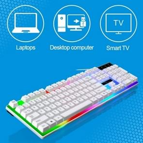 ZGB G21 1600 DPI Professional Wired Colorful Backlight Mechanical Feel Suspension Keyboard + Optical Mouse Kit for Laptop, PC(White)