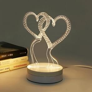 Heart to Heart Shape 3D LED Night Light, Creative 3D White / Warm White / Yellow Light Changing LED Desk Lamp