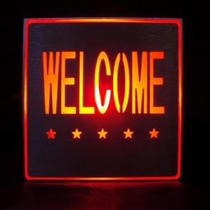 Welcome LED Sign Indicator Light, Size: 11x11x3.5cm(Red)