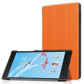 Voor Lenovo  Tab 7 / Tab 4 (TB-7504F / TB-7504N / TB-7504X) Tri-Fold Custer structuur horizontaal Flip PU lederen beschermings hoesje met houder(Oranje)