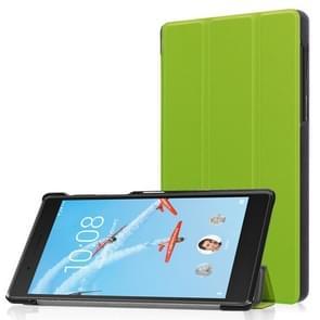 Voor Lenovo  Tab 7 / Tab 4 (TB-7504F / TB-7504N / TB-7504X) Tri-Fold Custer structuur horizontaal Flip PU lederen beschermings hoesje met houder(groen)