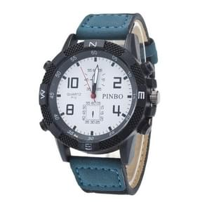 3 Pack Case Round Dial Leather Strap Canvas Watch (Colour: White And Blue)