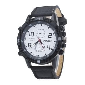 3 Pack Case Round Dial Leather Strap Canvas Watch (Colour: White And Black)