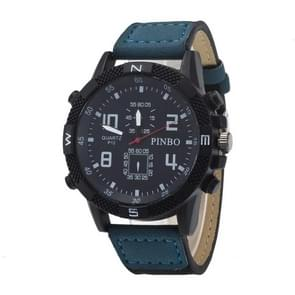 3 Pack Case Round Dial Leather Strap Canvas Watch (Colour: Black And Blue)
